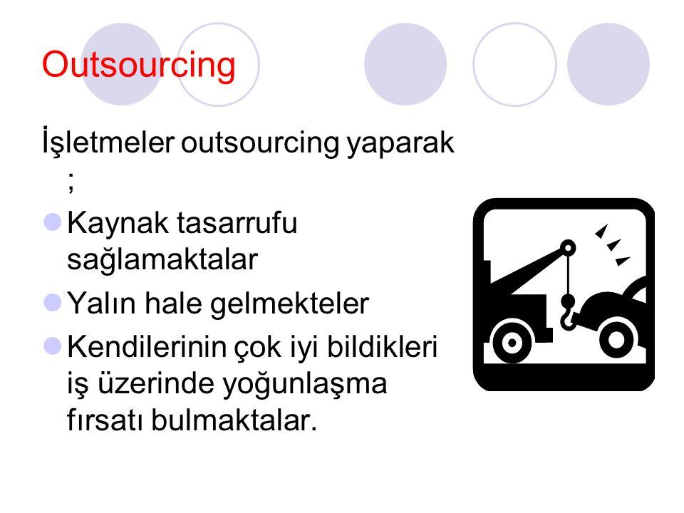 Outsourcing İşletmeler outsourcing yaparak ;