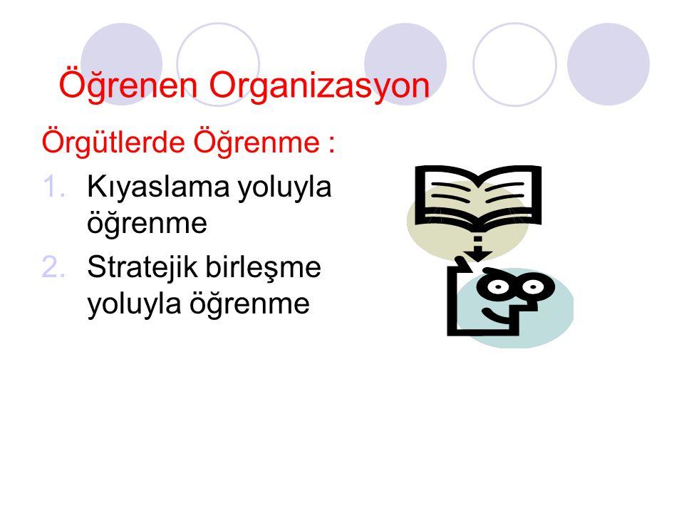 Öğrenen Organizasyon Örgütlerde Öğrenme : Kıyaslama yoluyla öğrenme
