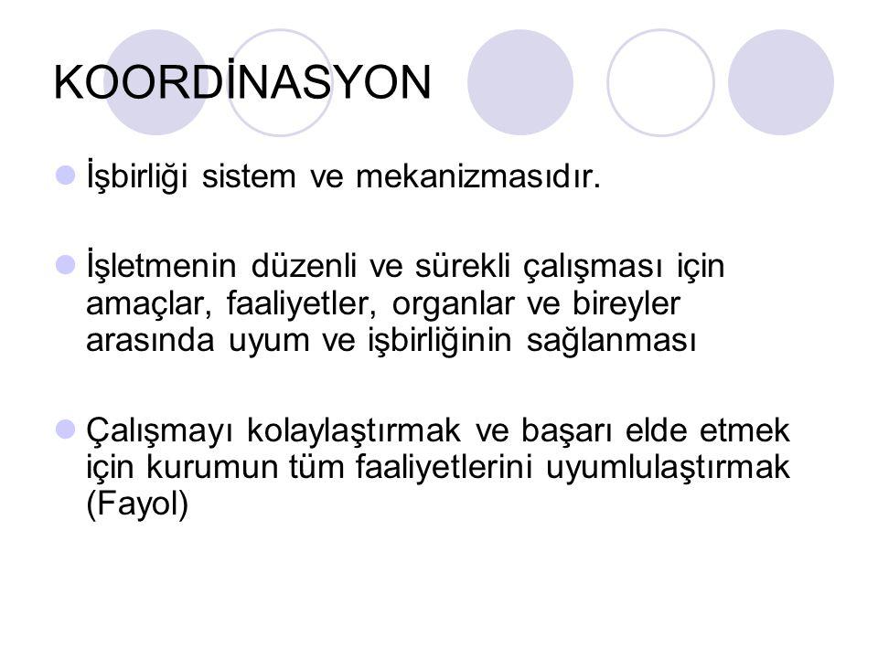 KOORDİNASYON İşbirliği sistem ve mekanizmasıdır.