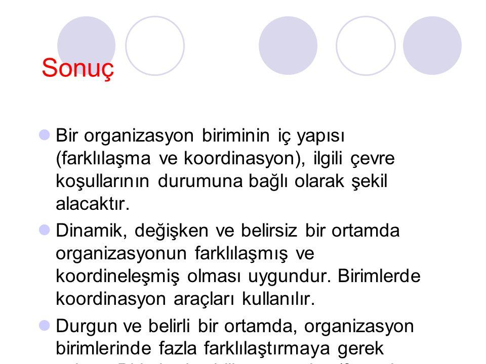 Sonuç Bir organizasyon biriminin iç yapısı (farklılaşma ve koordinasyon), ilgili çevre koşullarının durumuna bağlı olarak şekil alacaktır.