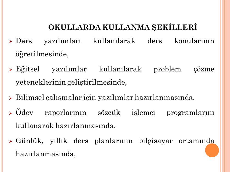 OKULLARDA KULLANMA ŞEKİLLERİ