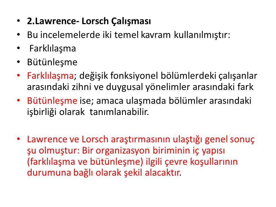2.Lawrence- Lorsch Çalışması