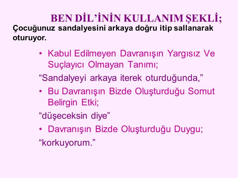 BEN DİL'İNİN KULLANIM ŞEKLİ;