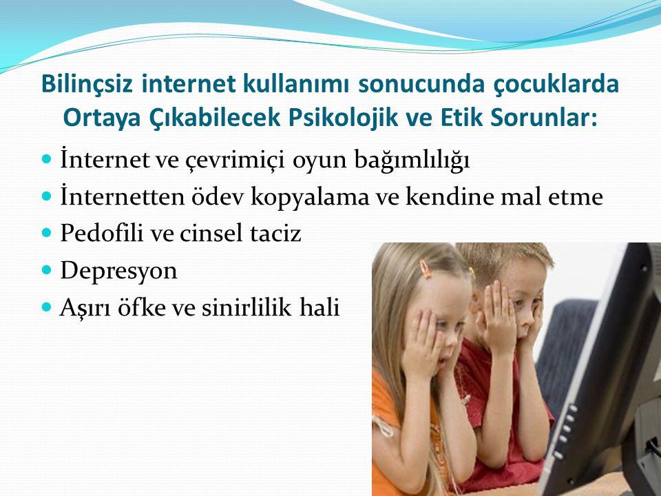 Bilinçsiz internet kullanımı sonucunda çocuklarda Ortaya Çıkabilecek Psikolojik ve Etik Sorunlar: