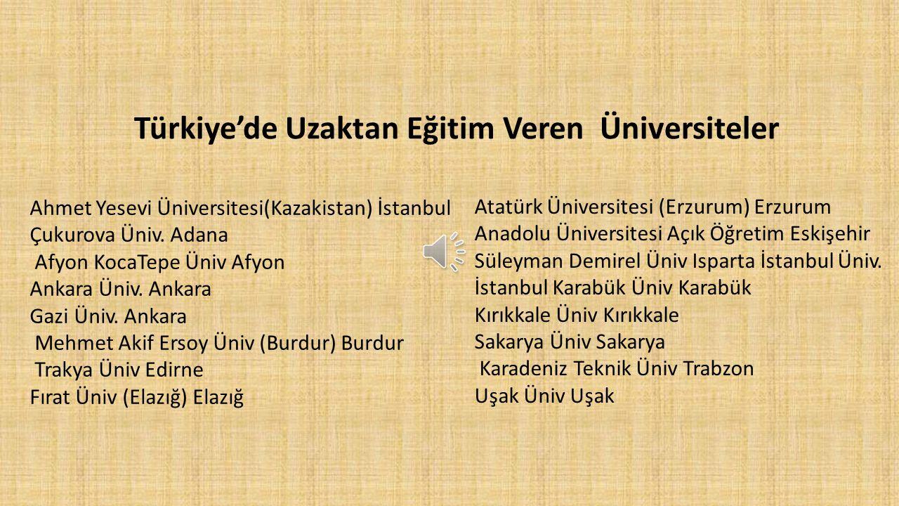 Türkiye'de Uzaktan Eğitim Veren Üniversiteler