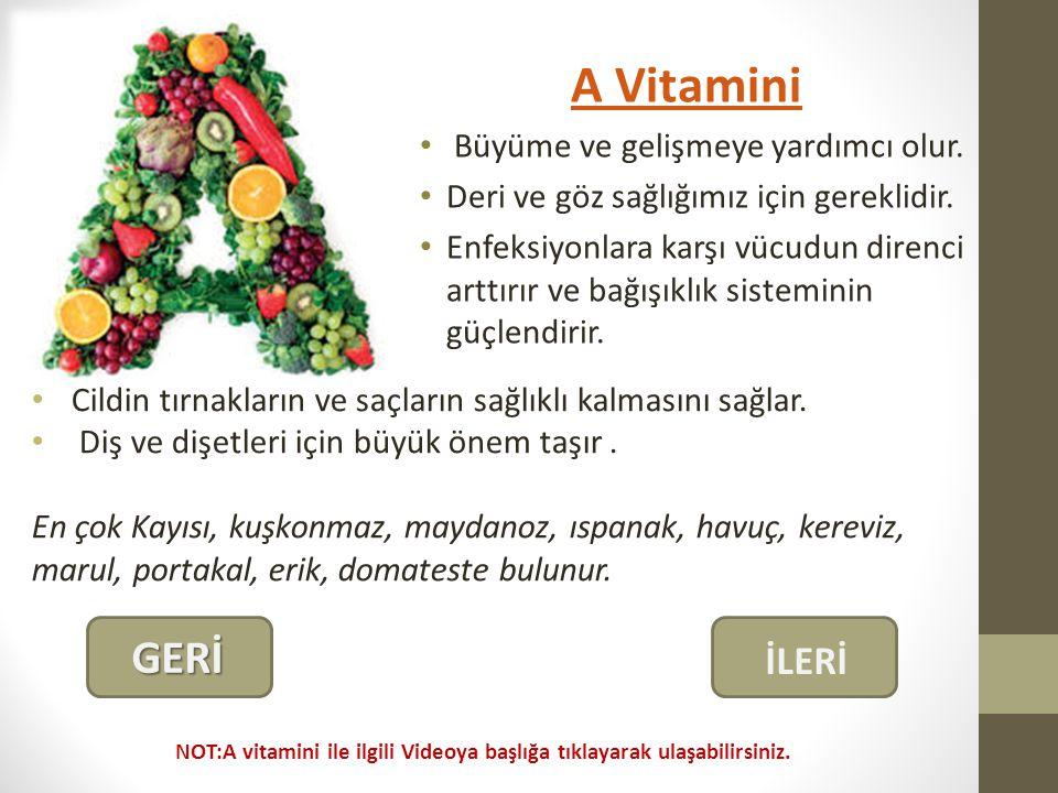 A Vitamini GERİ İLERİ Büyüme ve gelişmeye yardımcı olur.