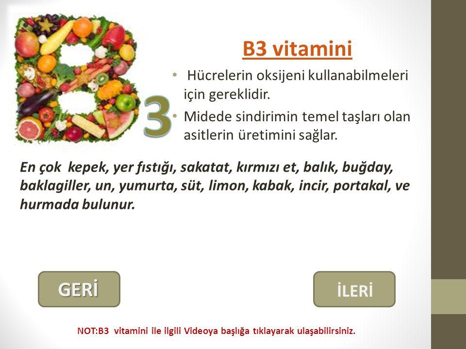 B3 vitamini Hücrelerin oksijeni kullanabilmeleri için gereklidir. Midede sindirimin temel taşları olan asitlerin üretimini sağlar.