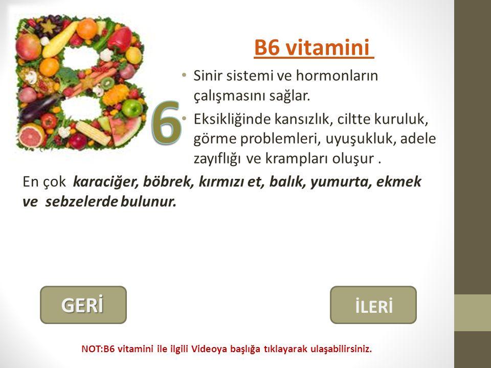 B6 vitamini Sinir sistemi ve hormonların çalışmasını sağlar.