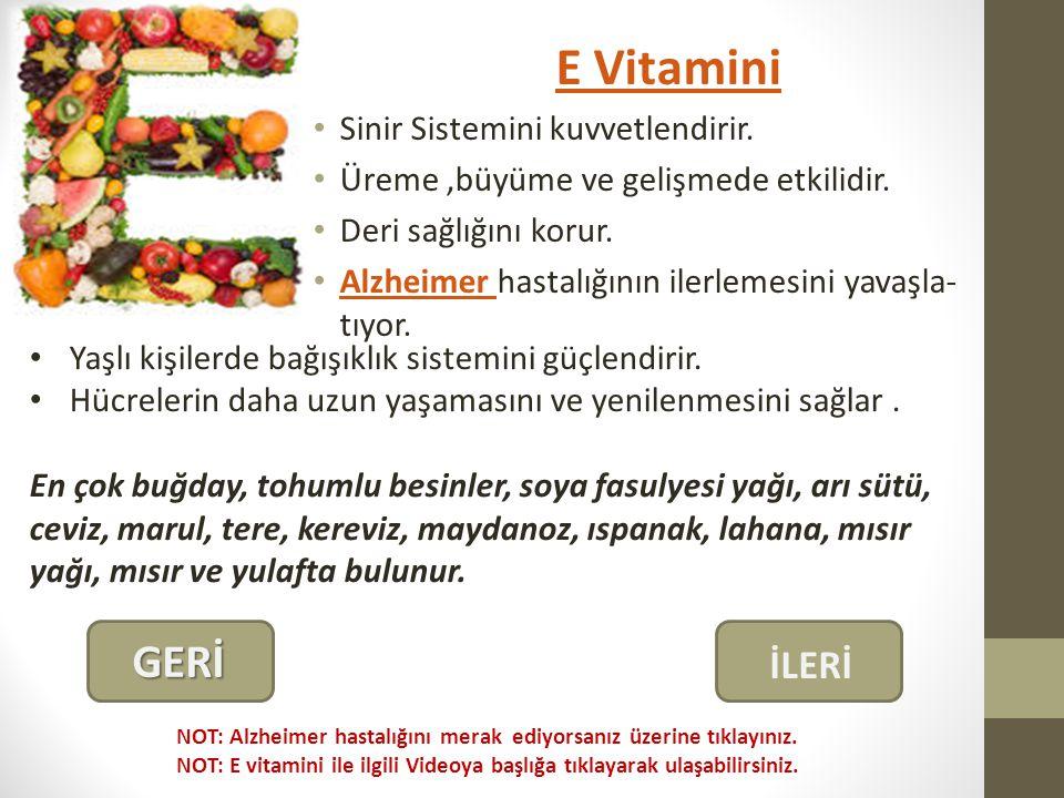 E Vitamini GERİ İLERİ Sinir Sistemini kuvvetlendirir.