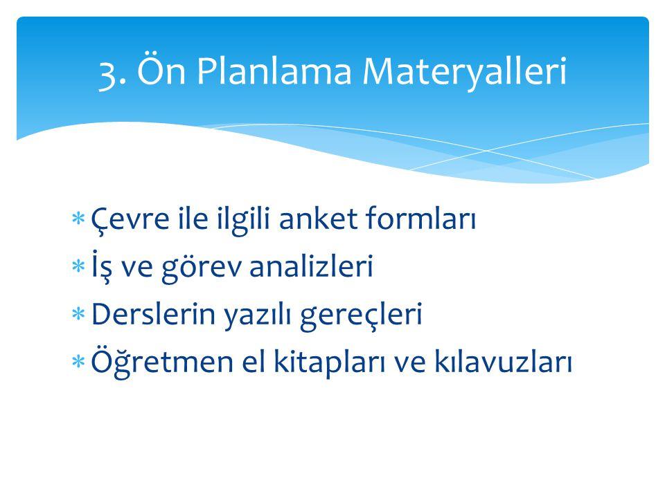 3. Ön Planlama Materyalleri