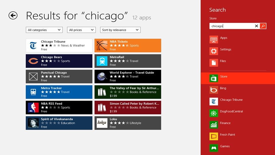 Chicago search in Bing