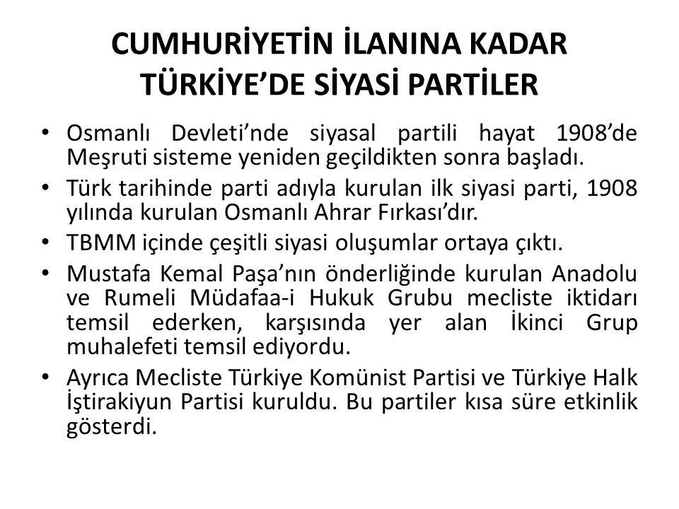 CUMHURİYETİN İLANINA KADAR TÜRKİYE'DE SİYASİ PARTİLER