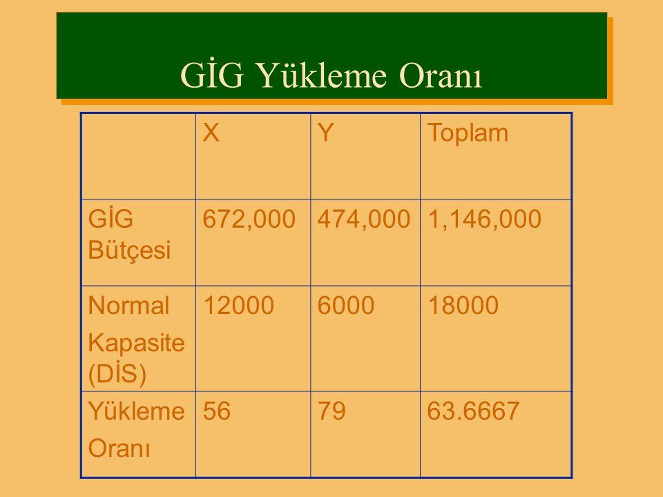 GİG Yükleme Oranı X Y Toplam GİG Bütçesi 672,000 474,000 1,146,000