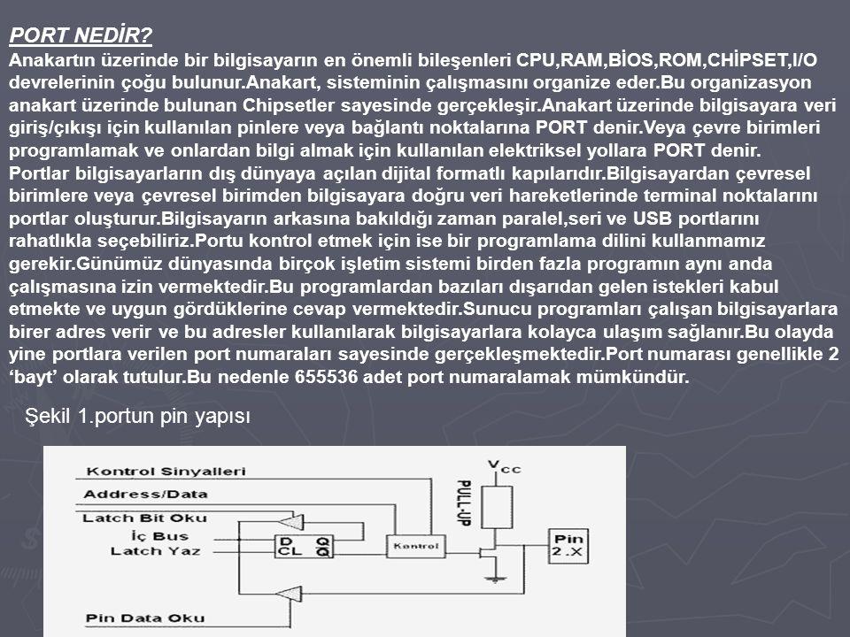 Şekil 1.portun pin yapısı
