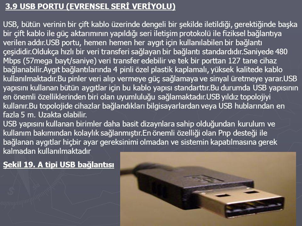 3.9 USB PORTU (EVRENSEL SERİ VERİYOLU)