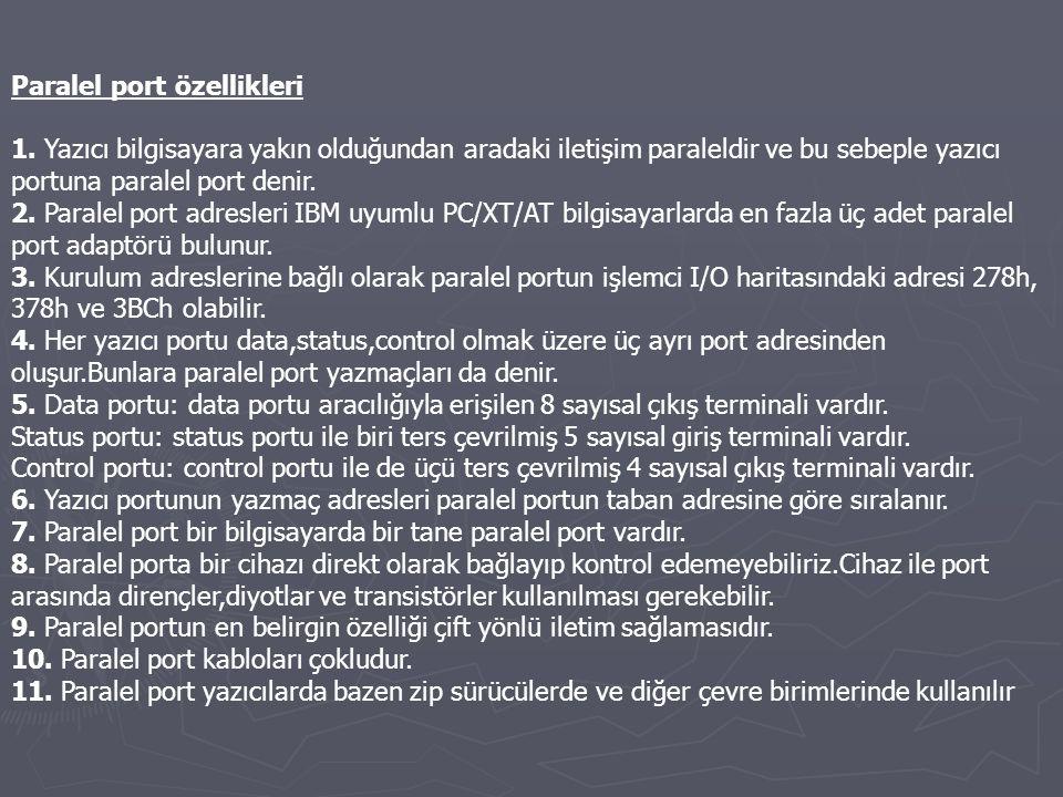 Paralel port özellikleri