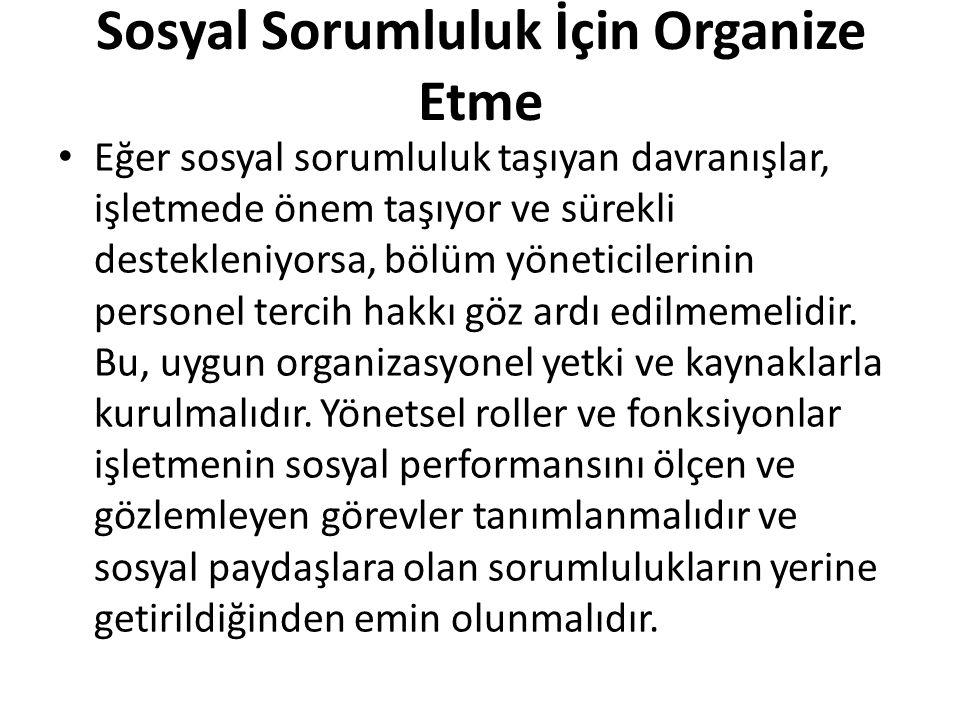 Sosyal Sorumluluk İçin Organize Etme
