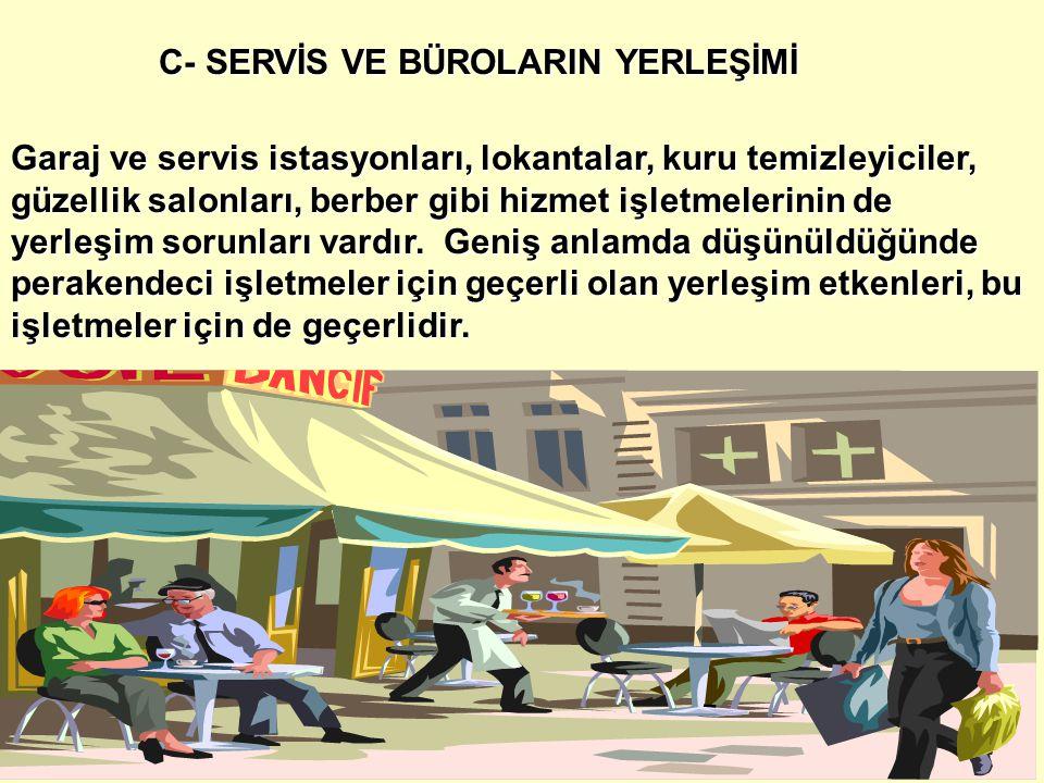 C- SERVİS VE BÜROLARIN YERLEŞİMİ