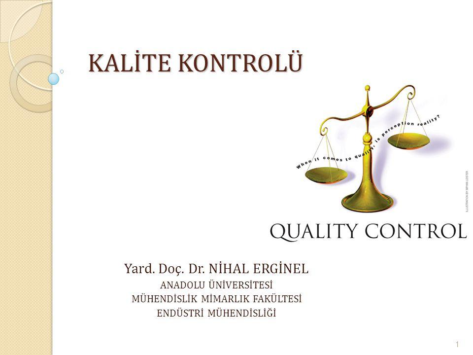 KALİTE KONTROLÜ Yard. Doç. Dr. NİHAL ERGİNEL ANADOLU ÜNİVERSİTESİ