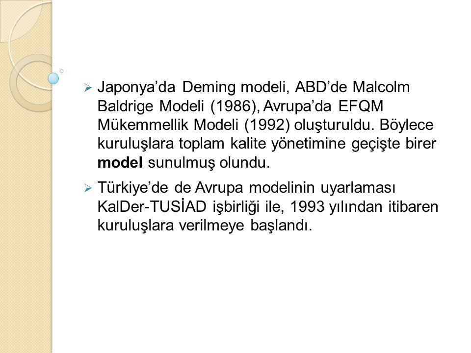 Japonya'da Deming modeli, ABD'de Malcolm Baldrige Modeli (1986), Avrupa'da EFQM Mükemmellik Modeli (1992) oluşturuldu. Böylece kuruluşlara toplam kalite yönetimine geçişte birer model sunulmuş olundu.