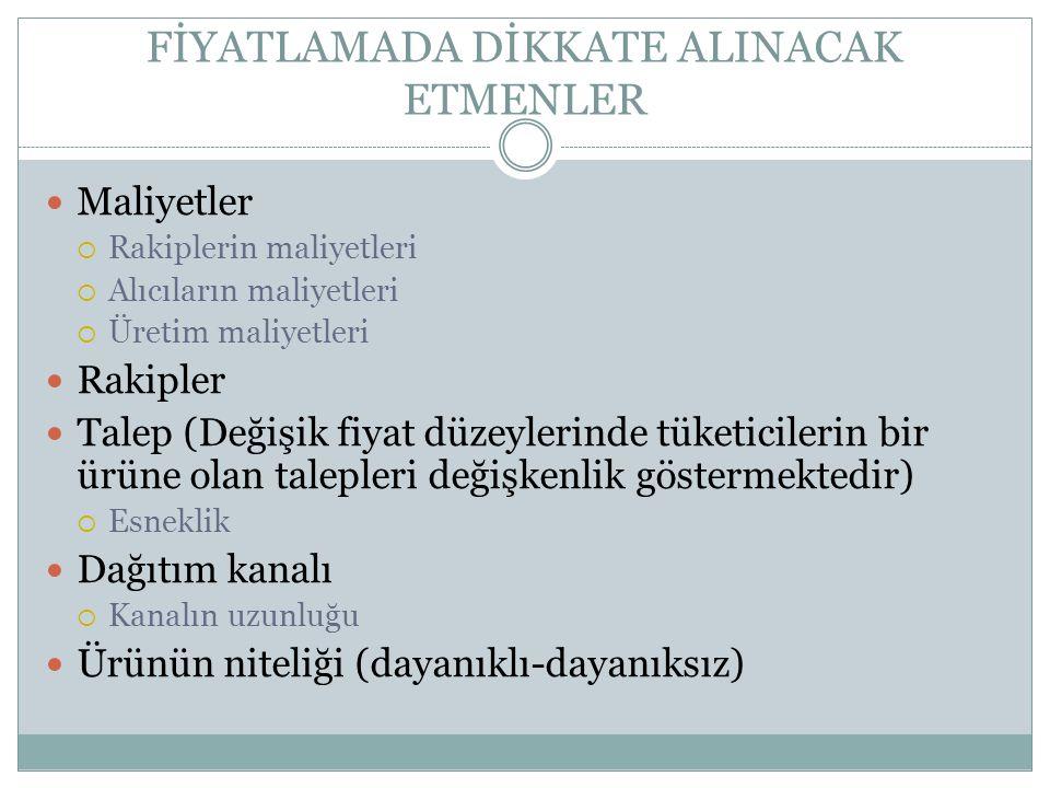 FİYATLAMADA DİKKATE ALINACAK ETMENLER