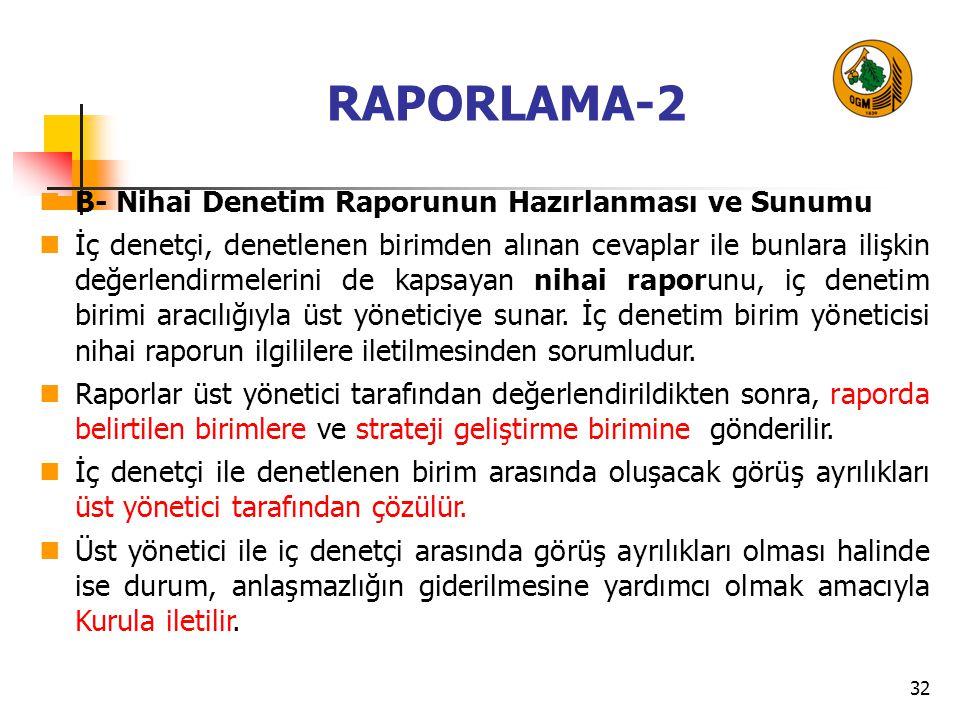 RAPORLAMA-2 B- Nihai Denetim Raporunun Hazırlanması ve Sunumu