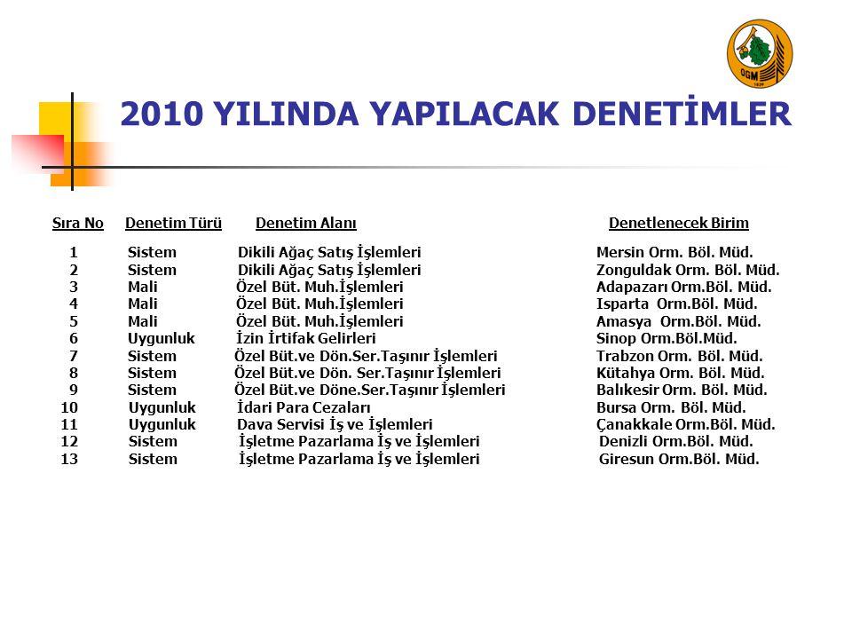 2010 YILINDA YAPILACAK DENETİMLER