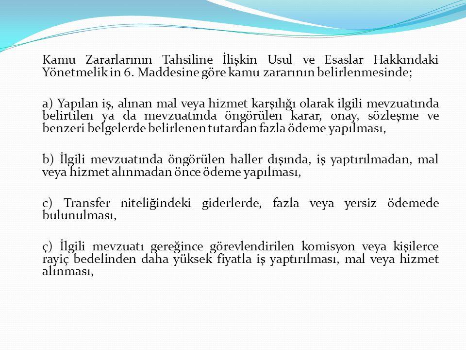 Kamu Zararlarının Tahsiline İlişkin Usul ve Esaslar Hakkındaki Yönetmelik in 6. Maddesine göre kamu zararının belirlenmesinde;