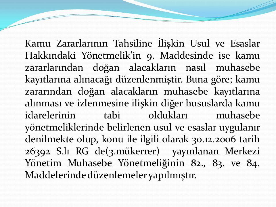 Kamu Zararlarının Tahsiline İlişkin Usul ve Esaslar Hakkındaki Yönetmelik'in 9.
