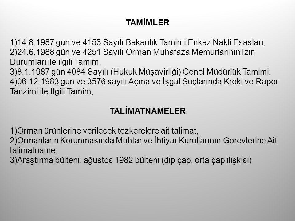 TAMİMLER 1)14.8.1987 gün ve 4153 Sayılı Bakanlık Tamimi Enkaz Nakli Esasları;
