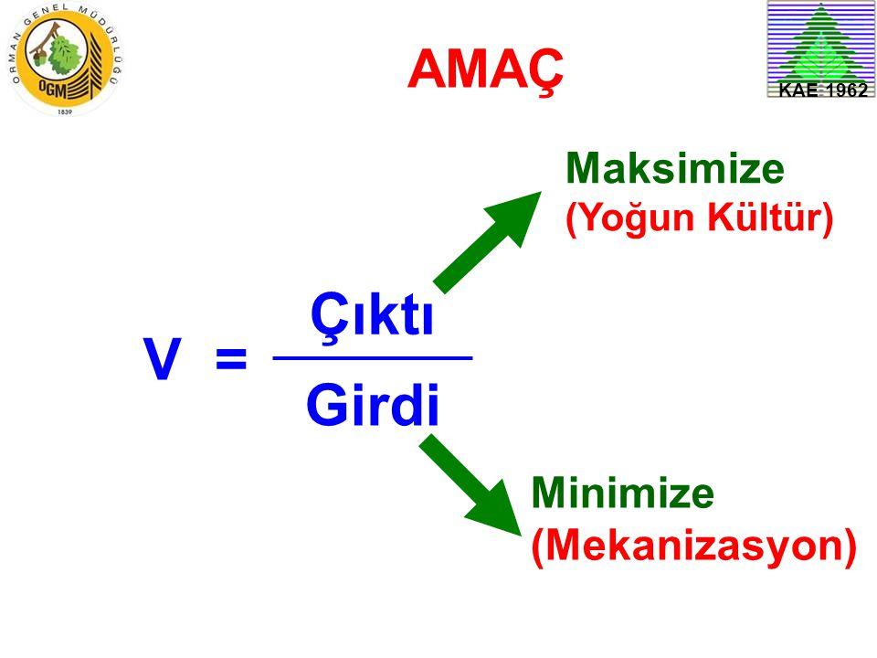 V = Çıktı Girdi AMAÇ Maksimize (Yoğun Kültür) Minimize (Mekanizasyon)