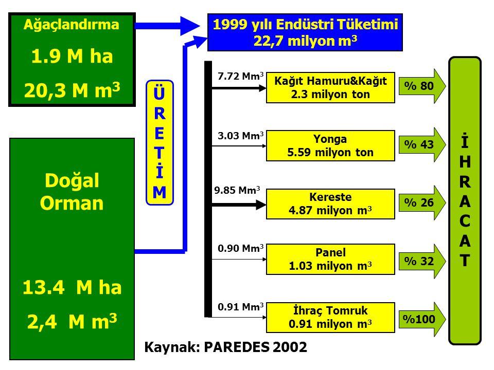 1999 yılı Endüstri Tüketimi 22,7 milyon m3