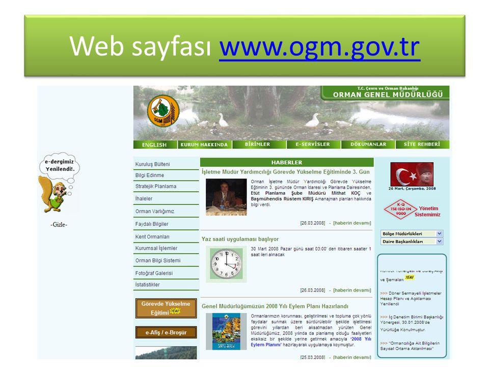 Web sayfası www.ogm.gov.tr