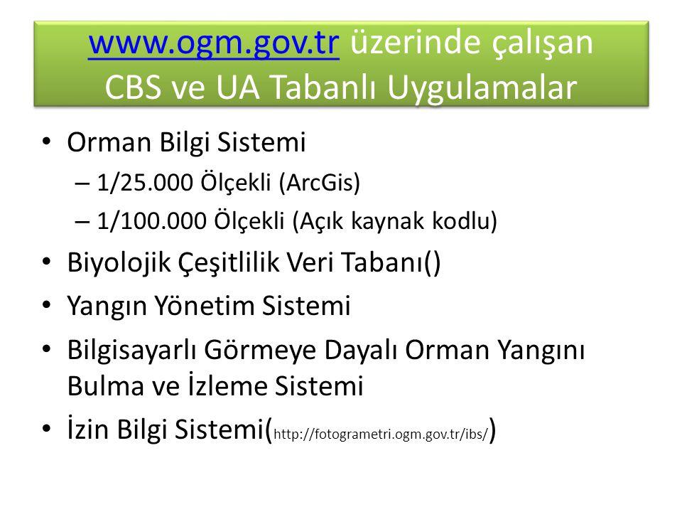 www.ogm.gov.tr üzerinde çalışan CBS ve UA Tabanlı Uygulamalar
