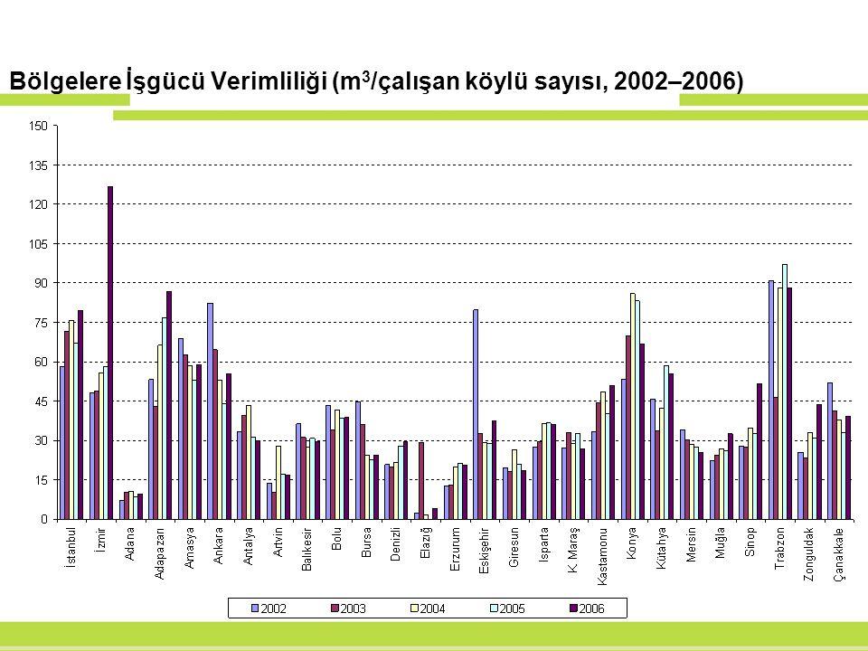 Bölgelere İşgücü Verimliliği (m3/çalışan köylü sayısı, 2002–2006)