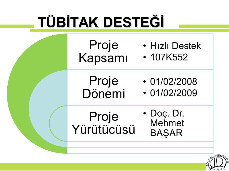 TÜBİTAK DESTEĞİ Proje Kapsamı Hızlı Destek 107K552 Proje Dönemi