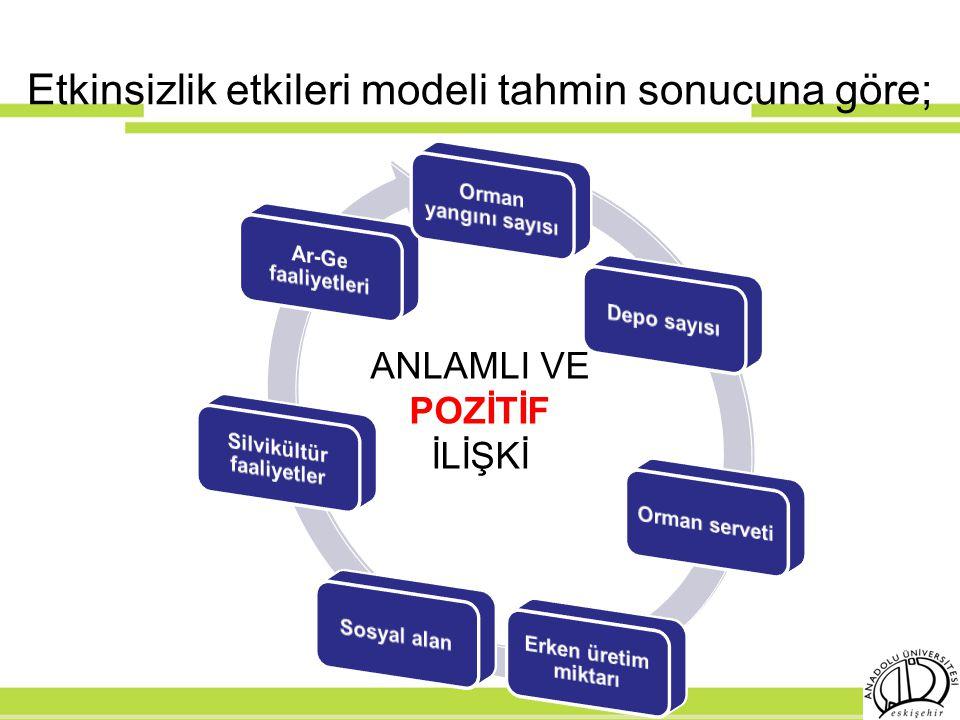 Etkinsizlik etkileri modeli tahmin sonucuna göre;