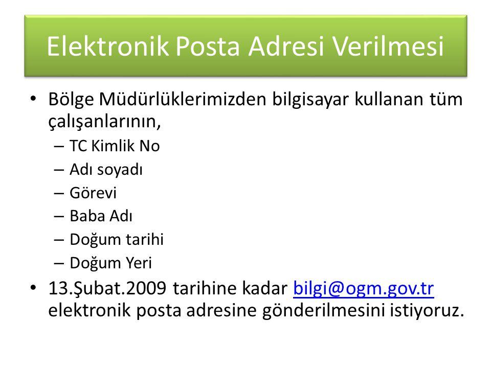 Elektronik Posta Adresi Verilmesi