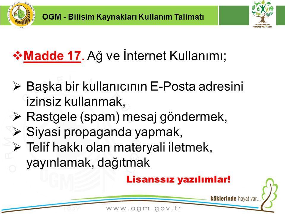Madde 17. Ağ ve İnternet Kullanımı;