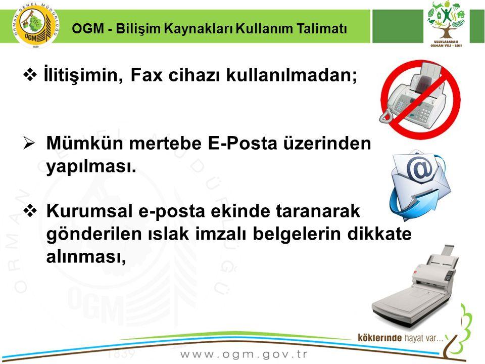 İlitişimin, Fax cihazı kullanılmadan;