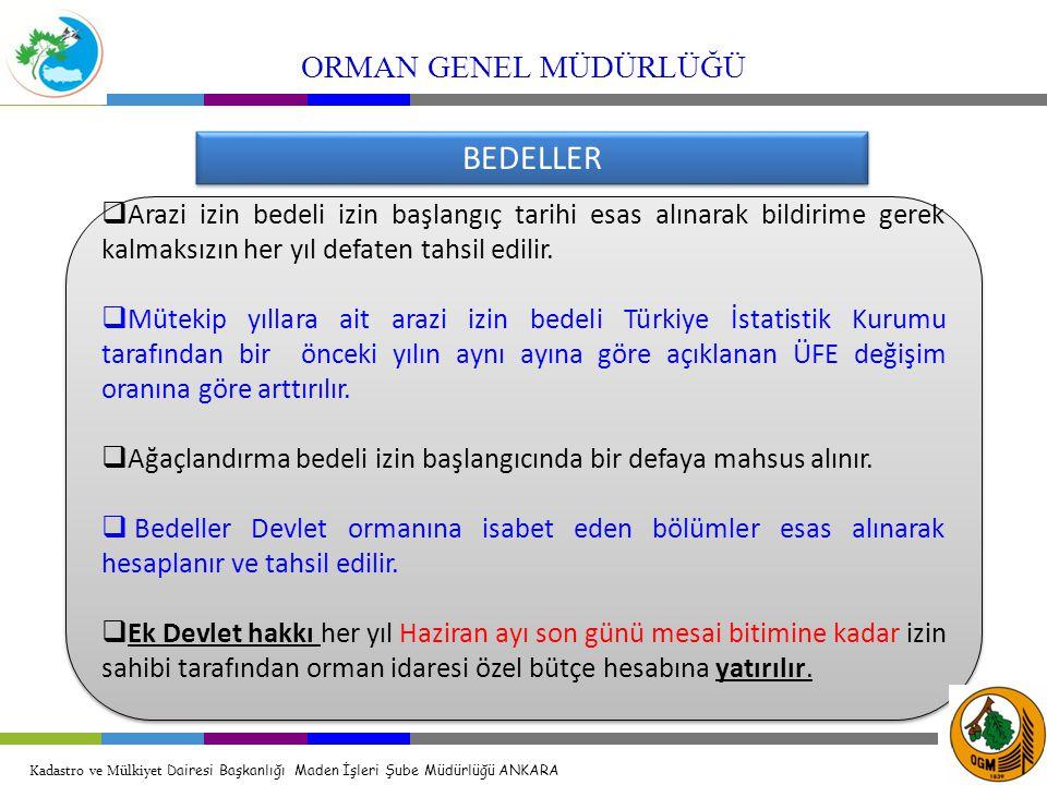 BEDELLER ORMAN GENEL MÜDÜRLÜĞÜ