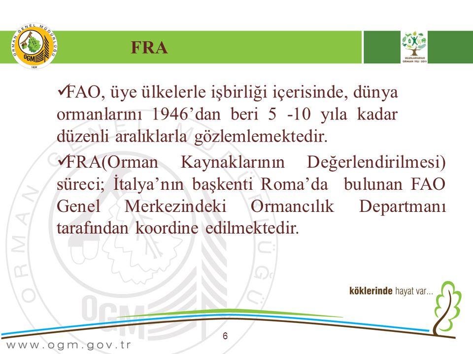 FRA FAO, üye ülkelerle işbirliği içerisinde, dünya ormanlarını 1946'dan beri 5 -10 yıla kadar düzenli aralıklarla gözlemlemektedir.