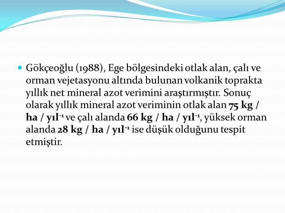 Gökçeoğlu (1988), Ege bölgesindeki otlak alan, çalı ve orman vejetasyonu altında bulunan volkanik toprakta yıllık net mineral azot verimini araştırmıştır.