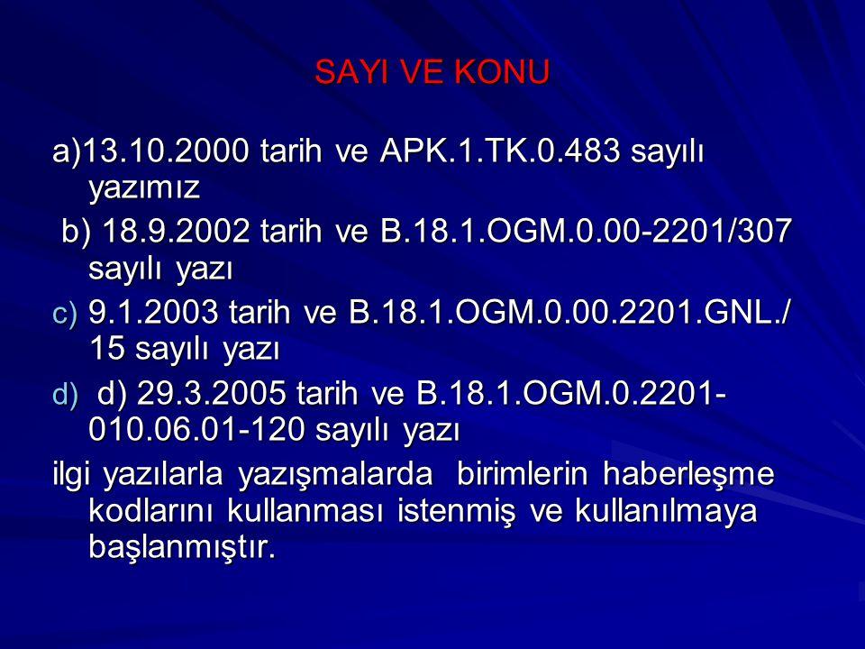 SAYI VE KONU a)13.10.2000 tarih ve APK.1.TK.0.483 sayılı yazımız. b) 18.9.2002 tarih ve B.18.1.OGM.0.00-2201/307 sayılı yazı.