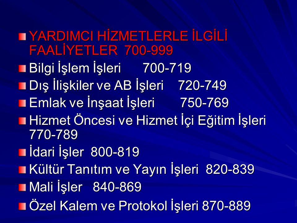 YARDIMCI HİZMETLERLE İLGİLİ FAALİYETLER 700-999