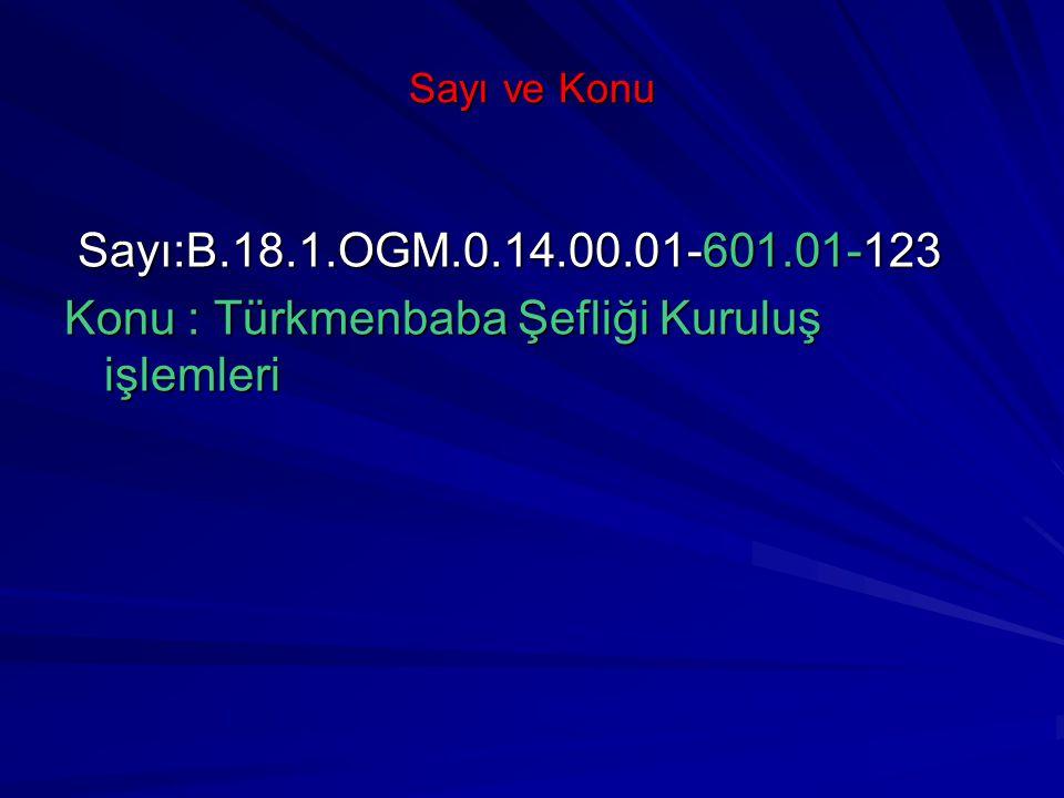 Konu : Türkmenbaba Şefliği Kuruluş işlemleri