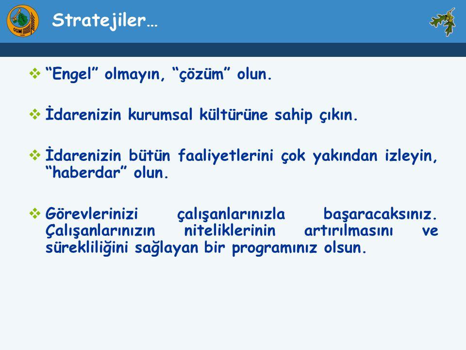 Stratejiler… Engel olmayın, çözüm olun.