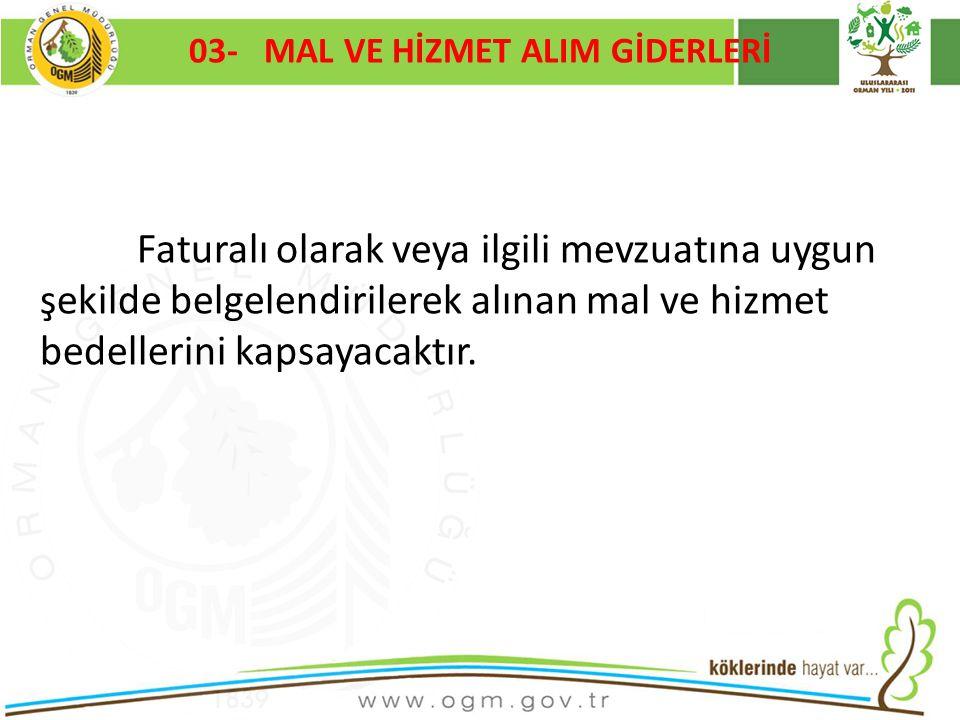 03- MAL VE HİZMET ALIM GİDERLERİ