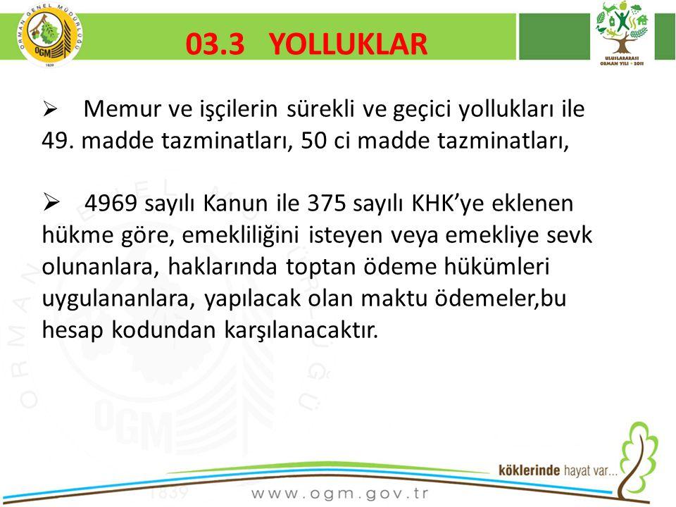 03.3 YOLLUKLAR Kurumsal Kimlik. 16/12/2010. Memur ve işçilerin sürekli ve geçici yollukları ile 49. madde tazminatları, 50 ci madde tazminatları,