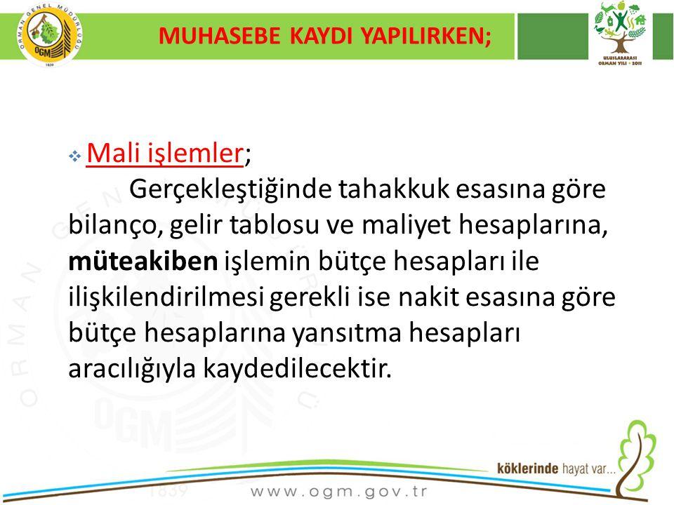 MUHASEBE KAYDI YAPILIRKEN;